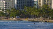 Waikiki Skyline, People On Beach