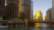 Michigan Ave In Chicago At Sunset, View Of Bridge