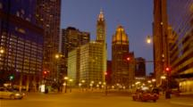 Michigan Ave In Chicago At Dusk, Traffic And Iconic Buildings