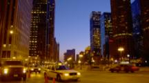 Traffic On Michigan Ave In Chicago At Dusk