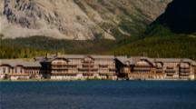 Many Glacier Hotel On Shore Of Swiftcurrent Lake