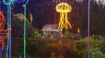 Jellyfish In Christmas Light Show In Coos Bay, Oregon