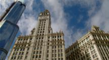 chicago, looking up at wrigley building with clock tower