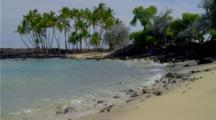 Rocky Shore And Palm Trees At Kekaha Kai State Park, Hawaii