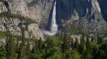 Iconic View Of Yosemite Falls, Zoom Out From Pool