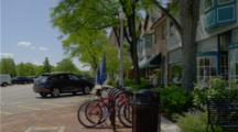 bikes parked on street in Lake Forest, Illinois