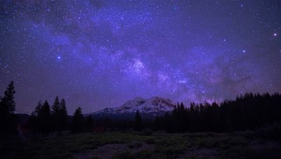 Time Lapse of the Milky Way and Clouds over Mt. Shasta as visible from Oregon at night