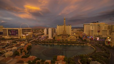 Time Lapse of Las Vegas from the Bellagio Hotel