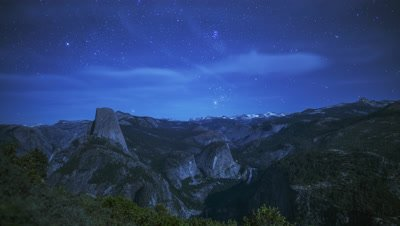 Time Lapse of the Half Dome at Yosemite National Park from Glacier Point at night