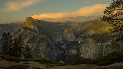 Time Lapse of the Half Dome at Yosemite National Park from Glacier Point at sunset