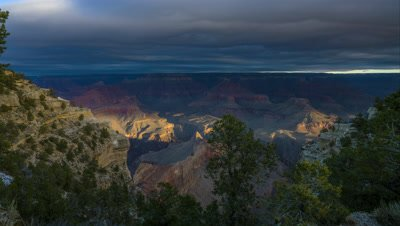 Time lapse of clouds passing over the Grand Canyon's South Rim during the winter