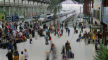 Time Lapse People And Trains Move At Paris Train Station