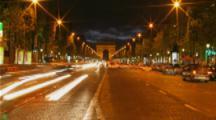 Time Lapse Traffic At Night, Arc de Triomphe, Paris, France