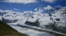 Time Lapse clouds above Switzerland glacier near Zermatt and Matterhorn