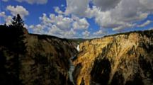 Time Lapse Yellowstone Falls and canyon with storm clouds