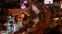 Cars Traveling Down The Las Vegas Strip At Night