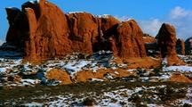 Panoramic View Of Arches National Park In Snow
