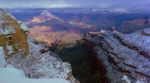 Time Lapse At Grand Canyon National Park In Snow
