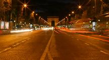Time Lapse Of Paris Street At Night