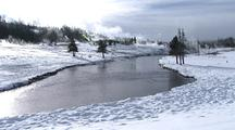 Firehole River, Snow In Yellowstone National Park