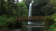 Foot Bridge And Waterfall In Silver Falls State Park