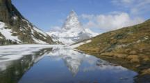Time Lapse, Matterhorn Reflected In Lake, Near Zermatt, Switzerland
