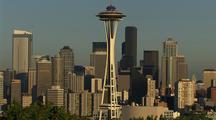 Seattle Skyline, Including Space Needle And Mt. Rainier
