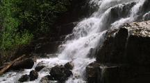Wide Waterfall Cascades Down Rocks