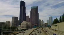 Seattle Skyline And Freeway Traffic