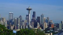Seattle Skyline With Space Needle, Mt Rainier