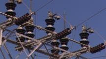 Lock-Off Of Electric Wires And Conductors, With Blue Sky Background.