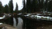 Shot Of The Snowy Banks Of The Truckee River In California.