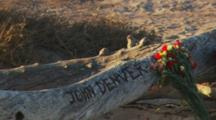 Wide Shot Zooms To Unofficial John Denver Memorial.  Site Where The Singer'S Plane Crashed.