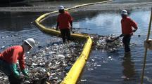 Workers Clean Up Trash Collected In Los Angeles River, Adjust Boom