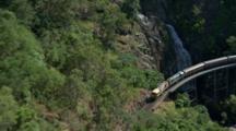Aerial Kuranda Train Passing Stony Creek Falls
