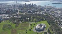 Aerial Aukland Downtown, Cbd With Auckland Museum