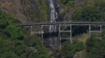 Aerial Waterfall Next To Kuranda Scenic Railway Bridge