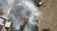 Aerial Fire Near A House, Auckland, Nz