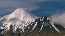 Slow Aerial Snow Capped Mt Taranaki