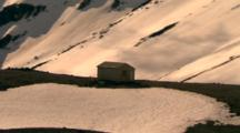 Aerial Over Department Of Conservation Tramping Hut On Mt Taranaki (Mt Egmont), Nz
