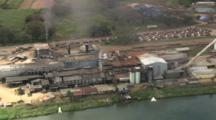 Aerial, Sugar Cane Factory On River, Ba, Fiji