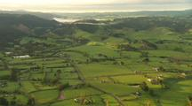Aerial Of Farmland, Green Fields