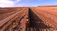Aerial Flying Over Desert Train Track, Train