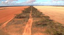Road Through Red Outback Desert