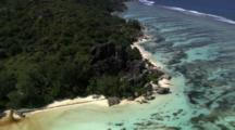 Aerial Rock Formations On Coastline In Seychelles