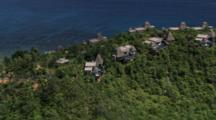 Aerial Over Resort Villas In Seychelles