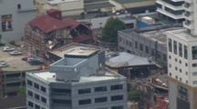 Aerial Christchurch Earthquake, Building Collapse, Rubble In Street