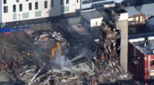 Aerial Christchurch Earthquake, Destroyed Ctv Building, Emergency Crews