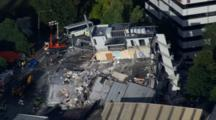Aerial Christchurch Earthquake, Emergency Crews Near Destroyed, Flattened Building