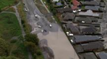 Aerial Christchurch Earthquake, Cars Stalled On Flooded Suburb Streets